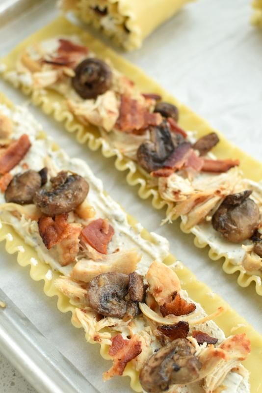 chicken bacon mushroom Lasagna Rollups | NoBiggie.net