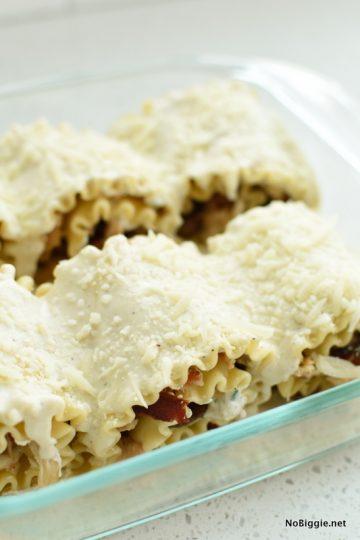 Chicken Bacon Mushroom Lasagna Rollups