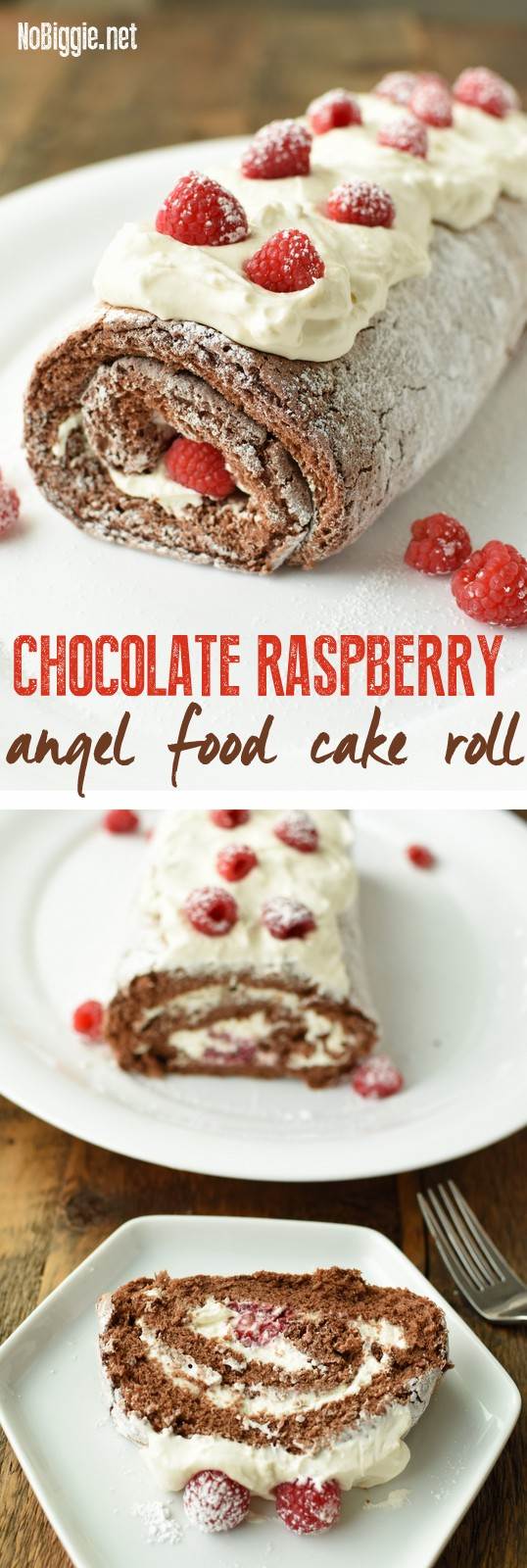 Chocolate Raspberry Angel Food Cake Roll | NoBiggie.net