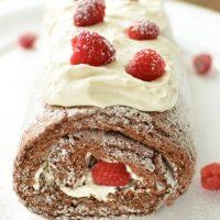 Chocolate Raspberry Angel Food Cake Roll