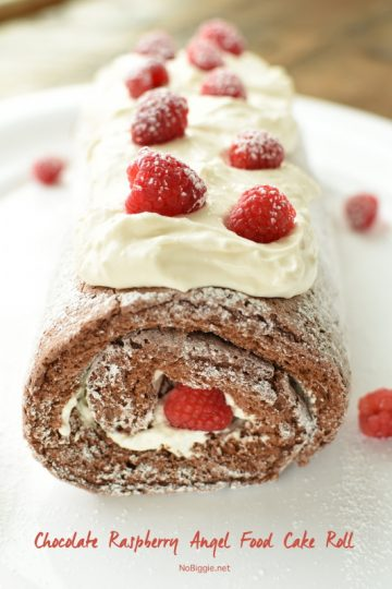 Chocolate Raspberry Angel Food Cake Roll