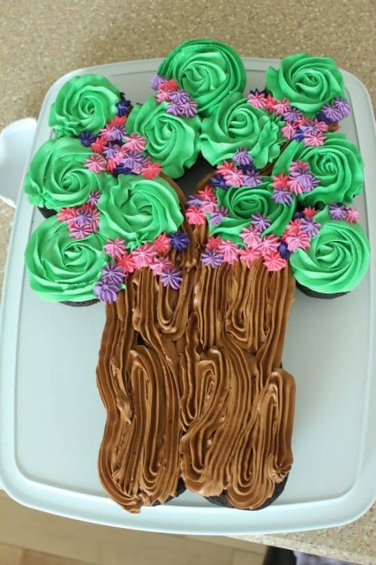 Flowering Tree Cupcake Cake |25+ Cupcake Birthday Cake Ideas