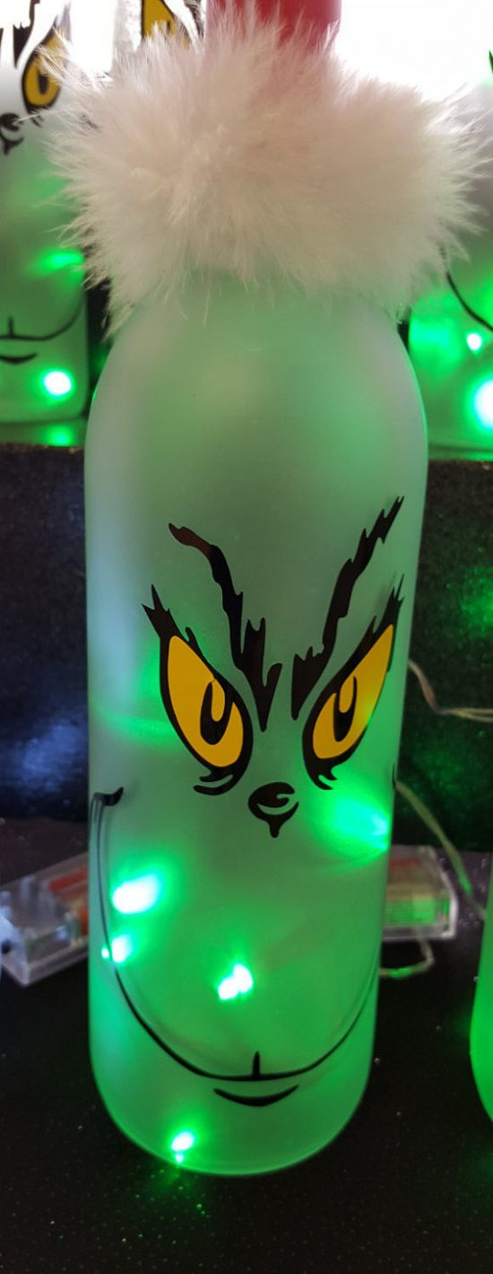 Lighted Grinch Wine Bottle | 25+ MORE Grinch Crafts and Cute Treats
