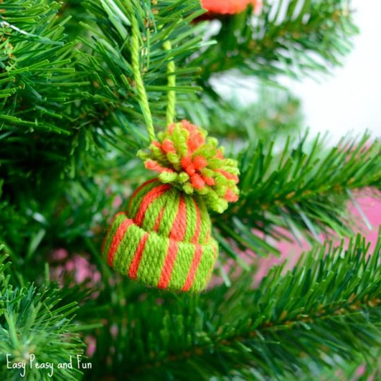 Mini Yarn Hat Ornaments | 25+ MORE Ornaments Kids Can Make
