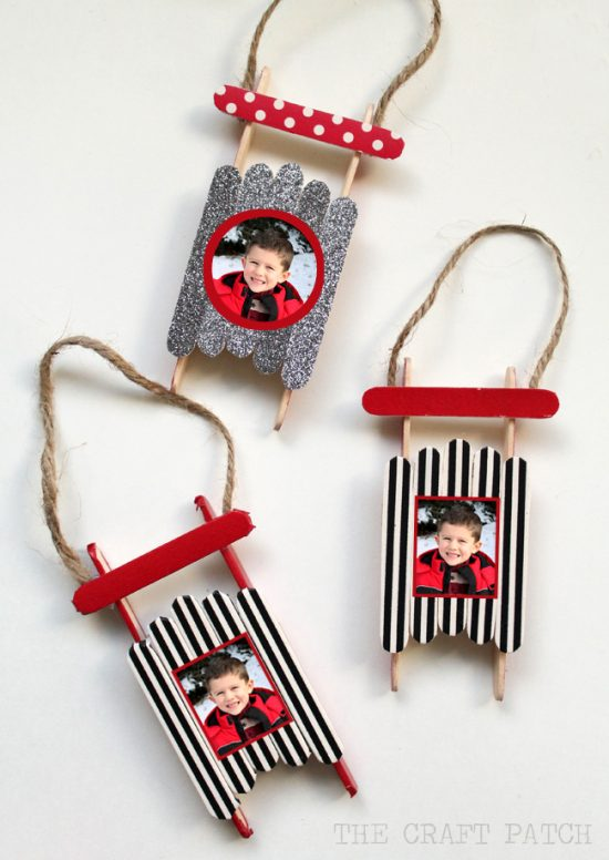 Photo Popsicle Stick Sled Ornaments | 25+ MORE Ornaments Kids Can Make