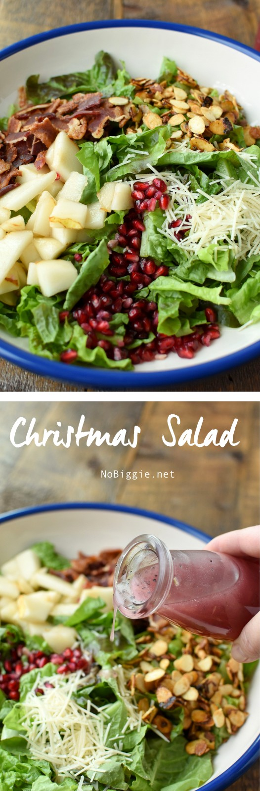 Christmas Salad - classic red and green colors of Christmas with the beautiful ruby red gem tones of the pomegranate arils and a homemade salad dressing! #christmassalad #christmas #saladrecipes #salad #homemadedressing