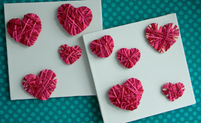 Yarn Wrapped Hearts | 25+ Valentine Crafts for Kids