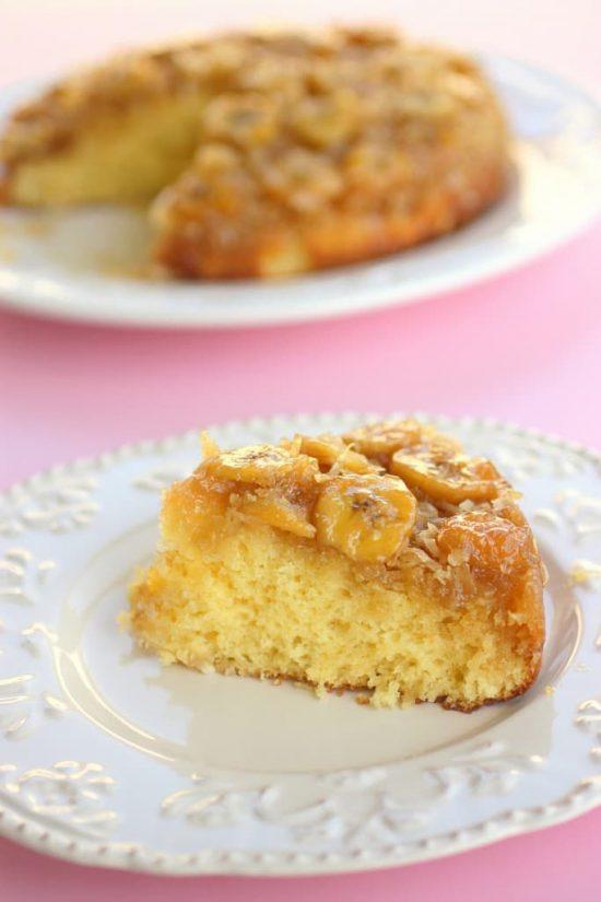 Banana Coconut Upside Down Cake | 25+ Hawaiian Party Foods