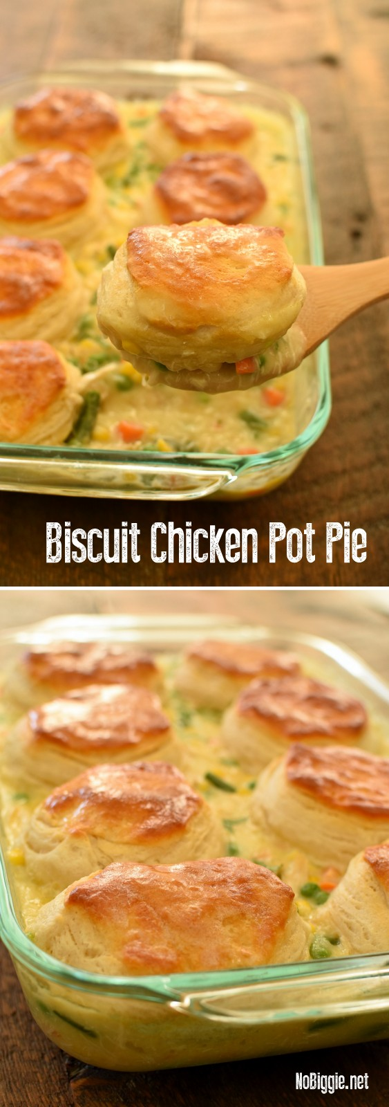 Biscuit Chicken Pot Pie is such an easy dinner the whole family will love. #chickenpotpie #biscuitchickenpotpie #potpie #chickenrecipes #chicken #easydinners