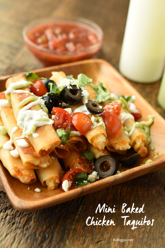 Mini Baked Chicken Taquitos | NoBiggie.net