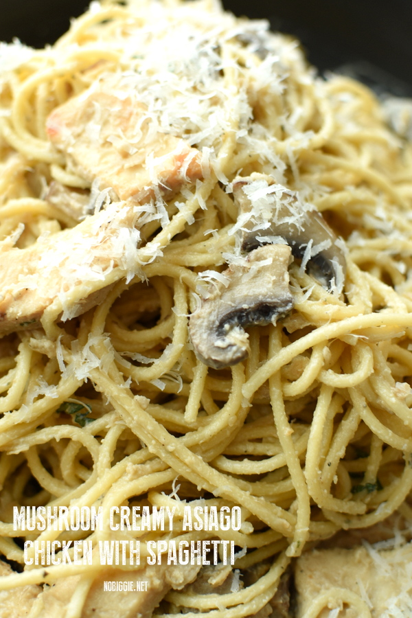 Mushroom Creamy Asiago Chicken with spaghetti