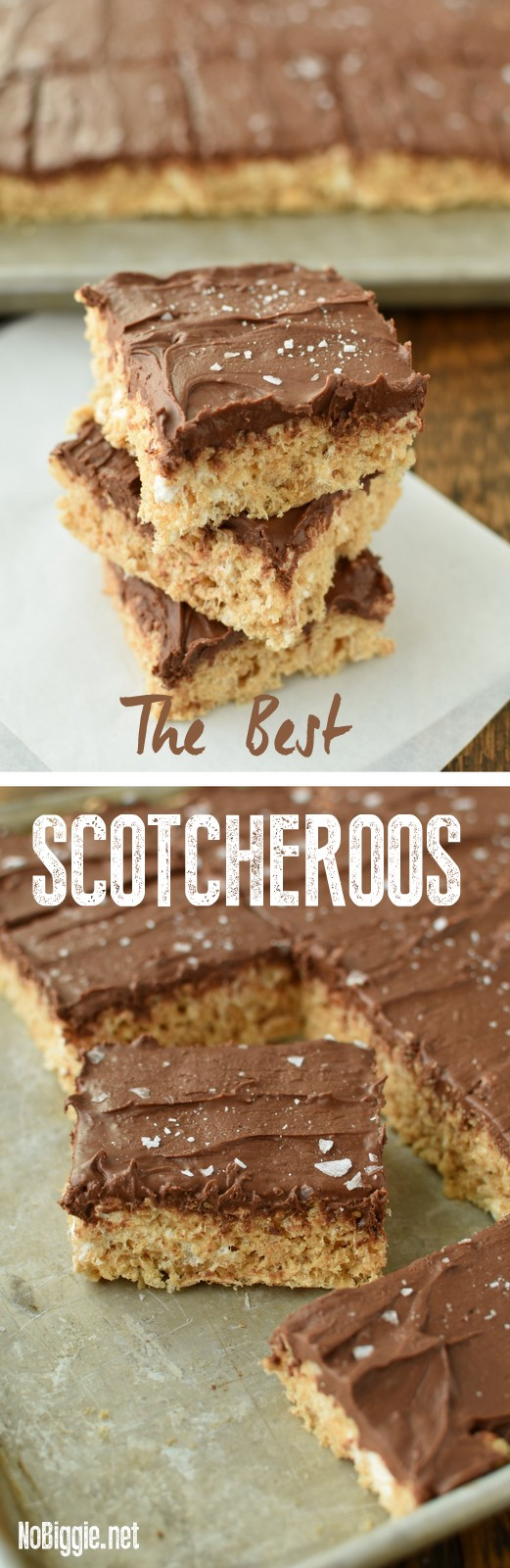 The BEST Scotcheroos made with marshmallows for a soft and chewy treat you can't put down! #scotcheroos #marshmellows #ricekrispies #ricekrispiesrecipes #chocolate #butterscotch
