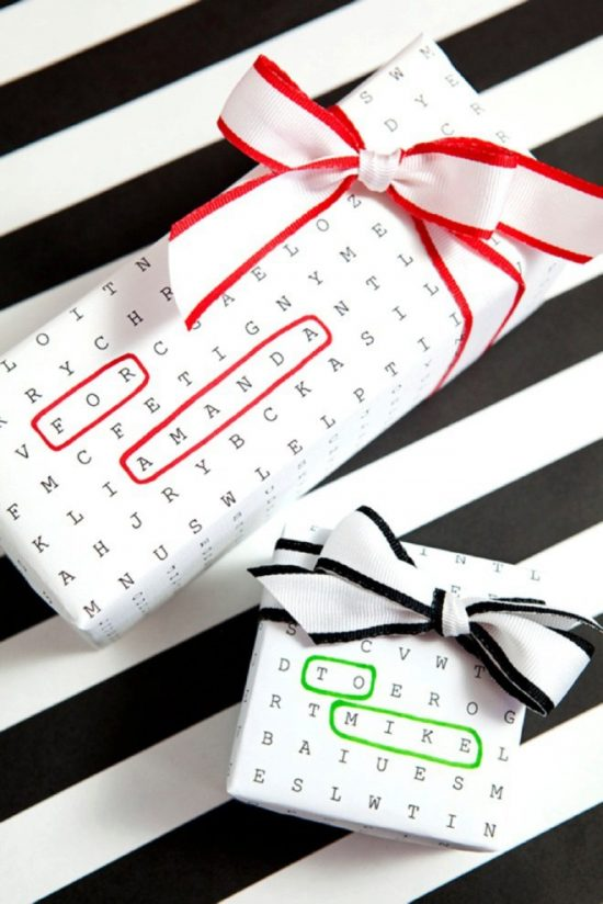 Word Search Gift Wrap | 25+ Creative Gift Wrap ideas