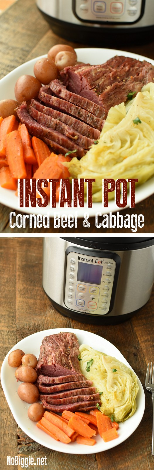 Instant Pot Corned Beef and Cabbage! A classic meal now made in the Instant Pot! #instantpotrecipes #cornedbeefandcabbage #stpattysmeals #instantpotmeals #instantpot