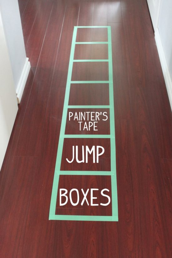 Painters Tape Jump Boxes | 25+ Boredom Busters