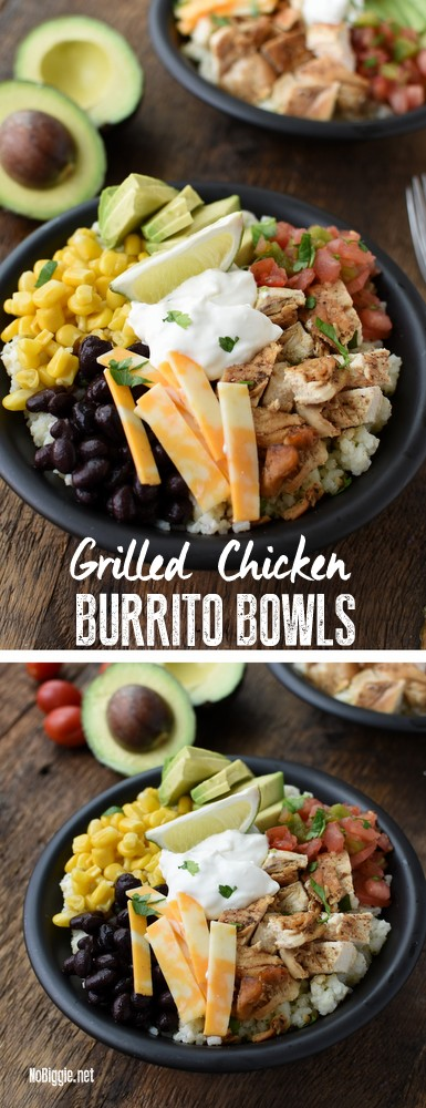 grilled chicken with burrito bowls