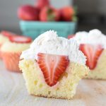 strawberry shortcake cupcakes with whole strawberry inside