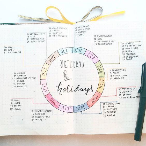 Birthdays and holidays | 25+ Bullet Journal Ideas