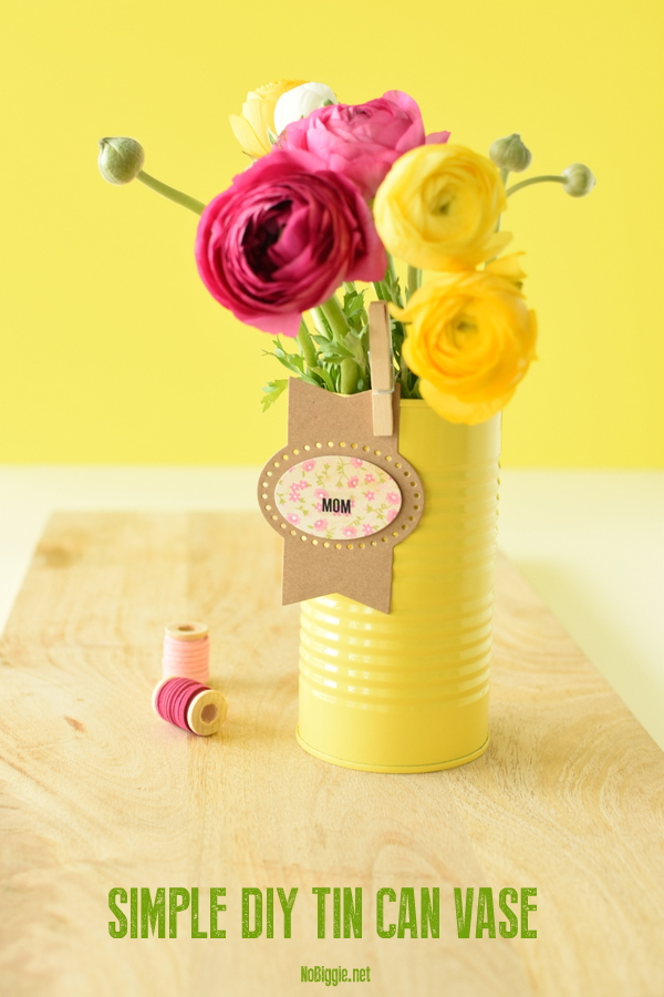 simple DIY Tin Can Vase