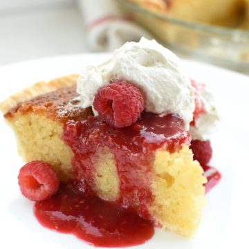 buttermilk pie with warm raspberry sauce
