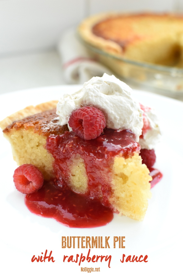 buttermilk pie with warm raspberry sauce