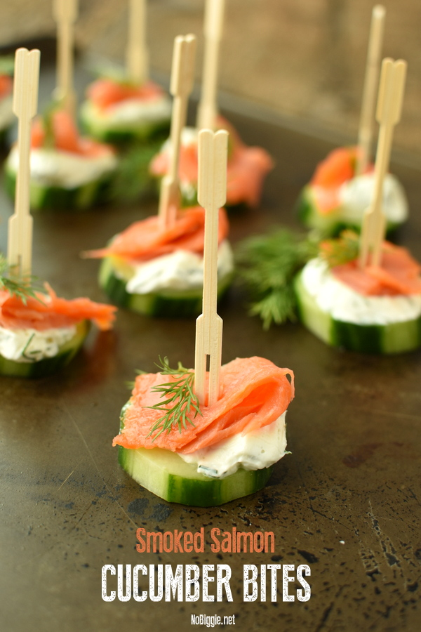 Smoked Salmon Cucumber Bites with a creamy dill spread. these no cook no bake appetizers are so quick to put together and they are always a hit! #smokedsalmon #nobake #nocook #appetizer #horseradish #cucumberbites