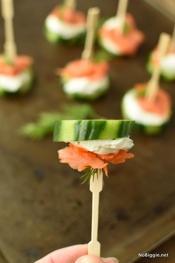 smoked salmon cucumber bites with creamy dill spread
