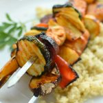 easy grilled kebobs served over couscous