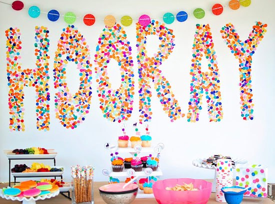 Confetti Word Backdrop | 25+ Confetti Party Ideas