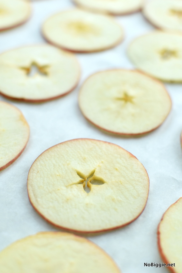 Baked Cinnamon Apple Chips sliced extra thin