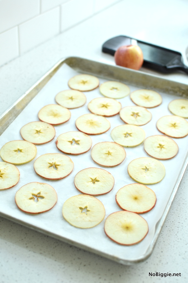 Baked Cinnamon Apple Chips sliced thin