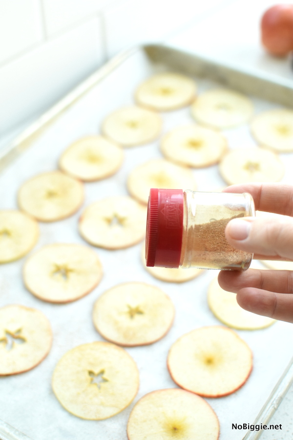 Baked Cinnamon Apple Chips thinly sliced