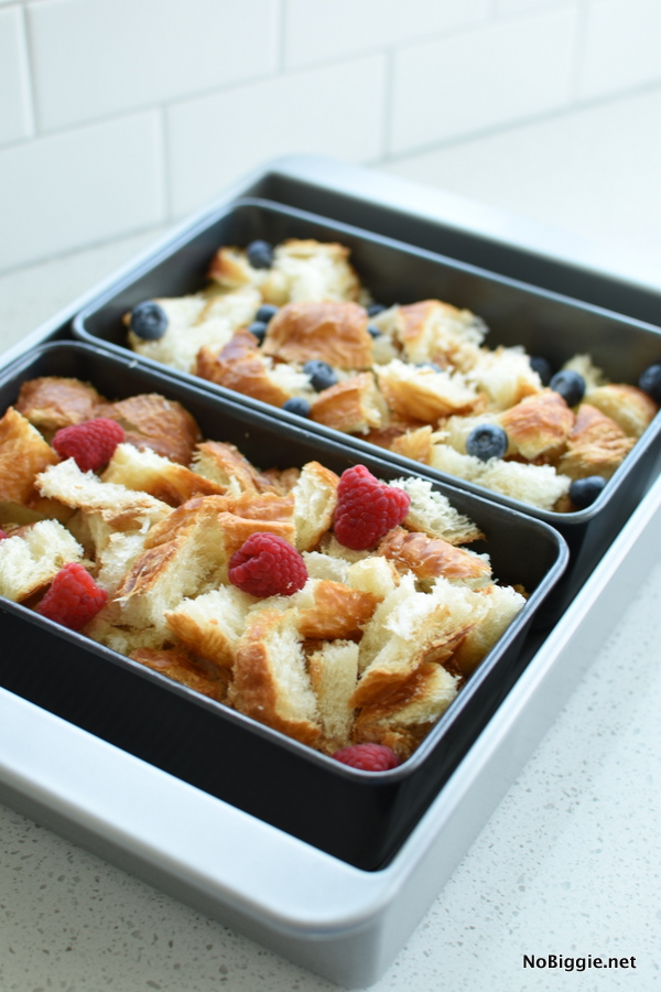 Croissant Bread Pudding before baking