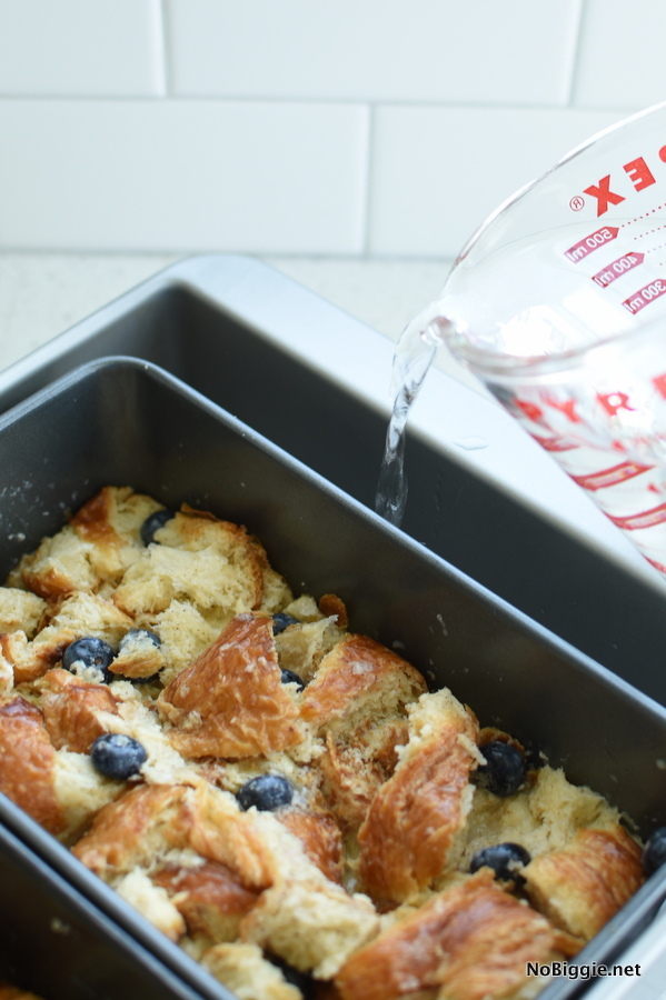 Croissant Bread Pudding water bath
