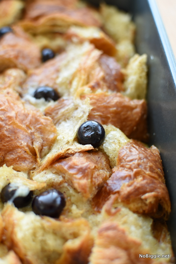 Croissant Bread Pudding with blueberries