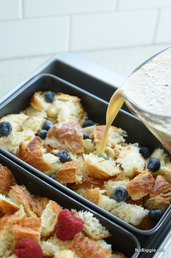 Croissant Bread Pudding with custard