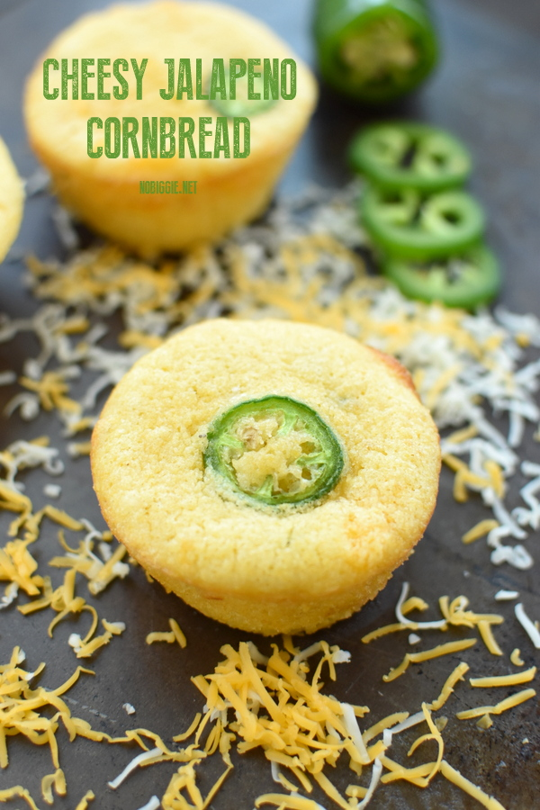 Kick it up a notch with spicy sweet and oh so cheesy jalapeño cornbread muffins. Made from scratch with cream style corn and fresh jalapeños. #jalapenocornbread #cheesycornbread #cornbread #cornbreadmuffins