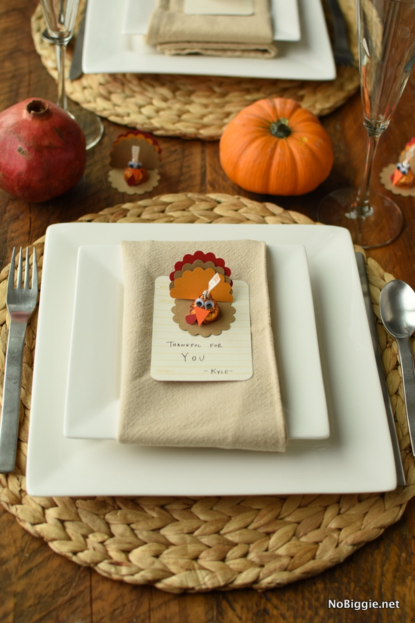 Thanksgiving Turkey Kisses table setting