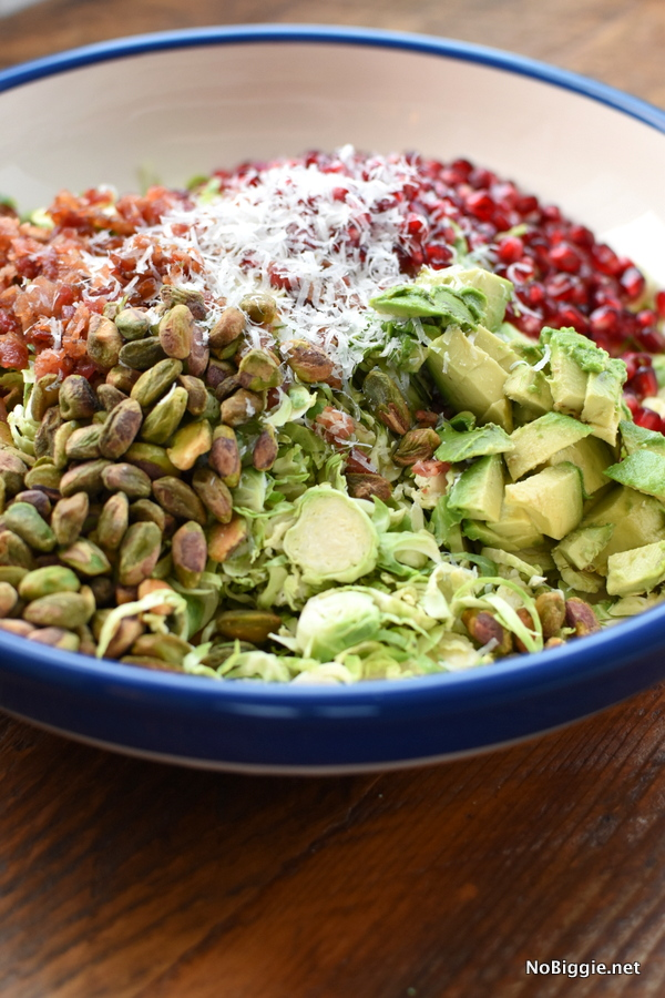 Shaved Brussels Sprouts Salad with avocado