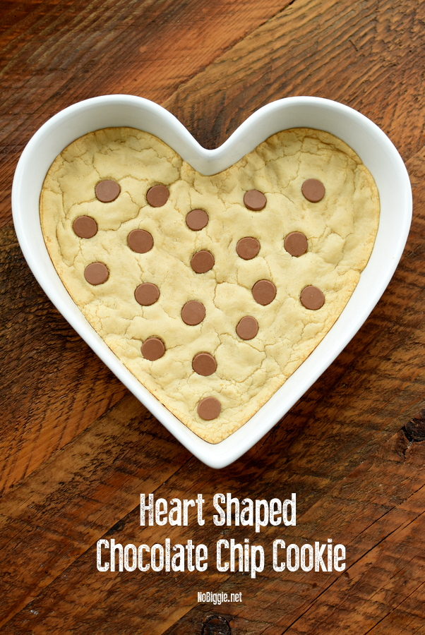 heart shaped chocolate chip cookie for Valentines Day