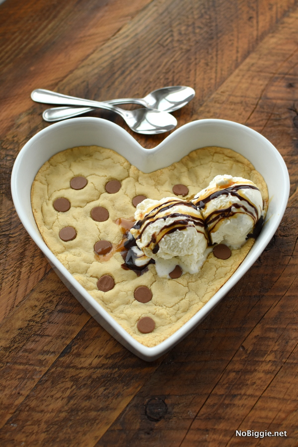 heart shaped chocolate chip cookie for two