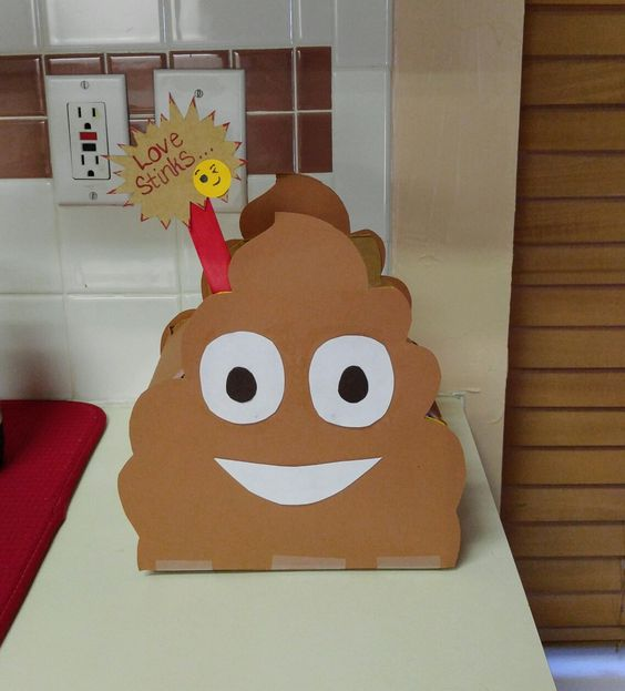 Poop Emoji Valentine Box for Boys