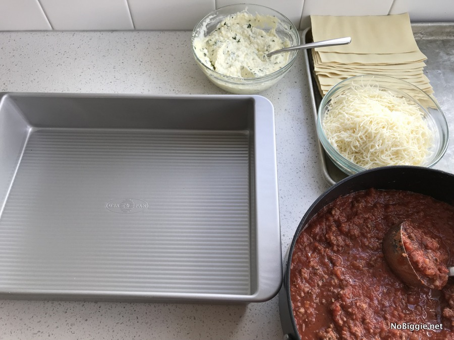 Meat Lovers Lasagna in the making