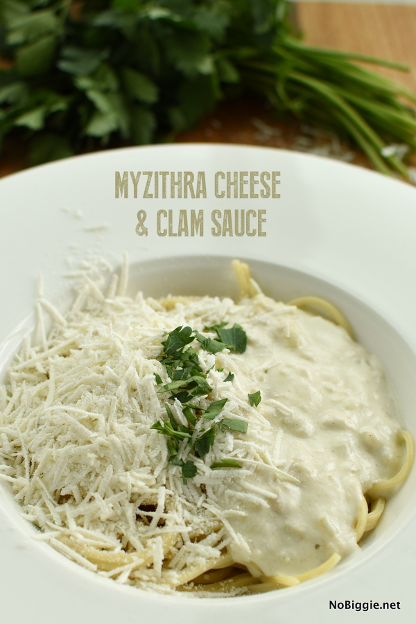 spaghetti with clam sauce with Myzithra Cheese