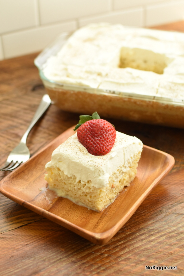 Tres Leches Cake with strawberry
