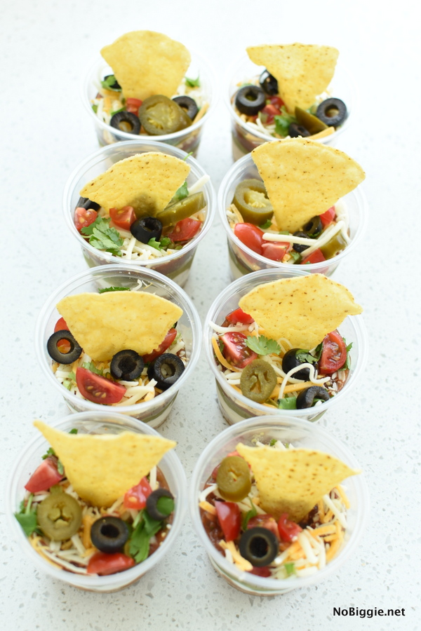 single servings 7 layer dip