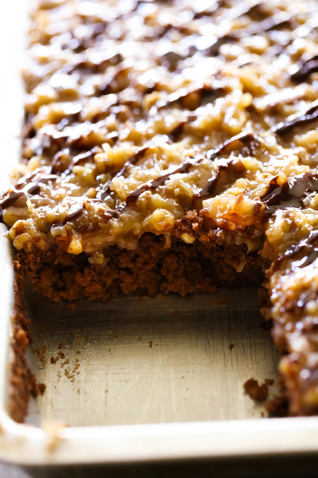 German chocolate sheet cake | 25+ Desserts to feed a crowd
