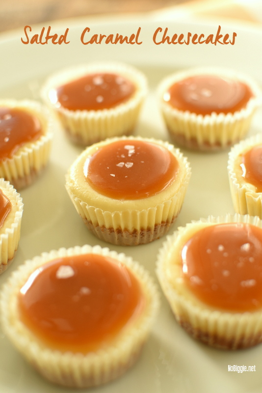 Salted Caramel Mini Cheesecakes | 25+ Desserts to feed a crowd