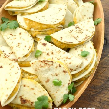 mini cheese and green chile quesdillas