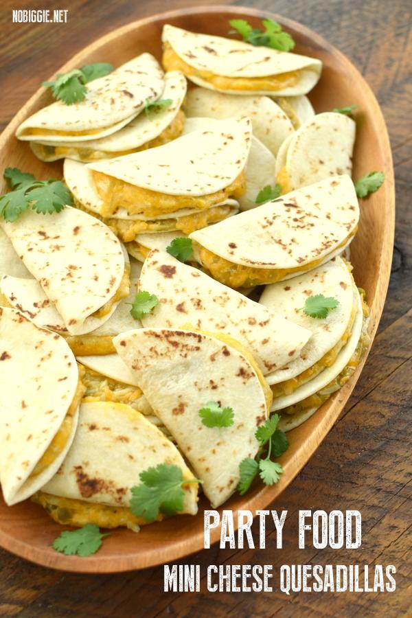 mini cheese and green chile quesdillas